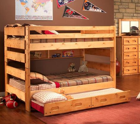 Chelsea Home Furniture 3544144-4739-X Full Over Full Bunk Bed with Trundle Unit, with Rustic Style, and All Pine Wood Construction in Cinnamon
