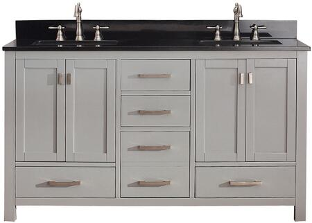 Avanity MODERO-VSX Modero Double Vanity with Top, Sinks, Faucet Hole, Soft Closed Doors, Drawers, Brushed Nickel Hardware, Adjustable Height Levelers, Poplar Solid Wood and Plywood, in Grey