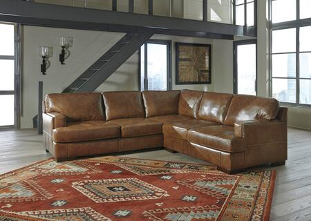 Signature Design by Ashley Vincenzo 30401SEC2PC 2-Piece Leather Match Sectional Sofa with Loveseat and Sofa in Nutmeg Color