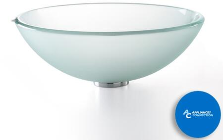 "Kraus GV101FRX Singletone Series 17"" Round Vessel Sink with 12-mm Tempered Frosted Glass Construction, Easy-to-Clean Polished Surface, and Included Pop-Up Drain with Mounting Ring"