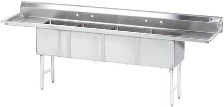Four Compartment Sink with Left and Right Side Drainboard