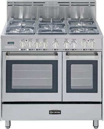 "Verona VEFSGE365DSS 36"" Dual Fuel Freestanding Range with Sealed Burner Cooktop, 2.4 cu. ft. Primary Oven Capacity, Storage in Stainless Steel"