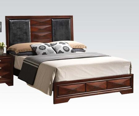 Acme Furniture 219 Windsor Size Bed with with Black PU Leather Headboard Upholstery and Molding Details in Merlot Finish