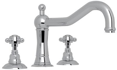 Rohl A1414XC Italian Country Bath Collection Acqui Three-Hole Deck Mounted Column Spout Tub Filler with up to 17 GPM Water Flow and Swarovski Crystal Cross Handles in