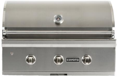 """Coyote C1C34XX 34"""" C-Series Built-In Gas Grill with 3 I-Burners, 60000 BTU Burners, 780 sq. in. Cooking Surface Interior, in Stainless Steel"""