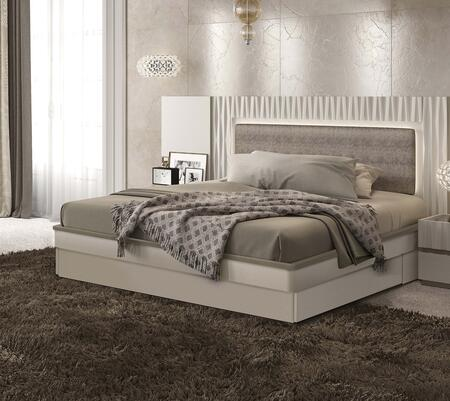 ESF Marina Collection Bed with Eco-Leather Upholstered Headboard, Storage Kit and Wooden Slats Frame