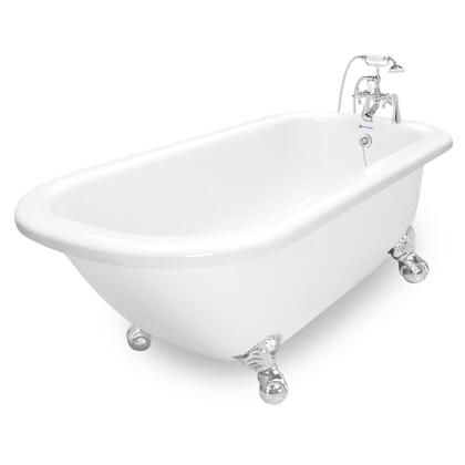 American Bath Factory T050B- Trinity Bathtub With 90 Series Faucet, Hand Shower & Metal Cross Handles, With Ball and Claw Feet:
