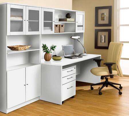 Unique Furniture 1C100006M Executive Office Desk with Hutch & Bookcase