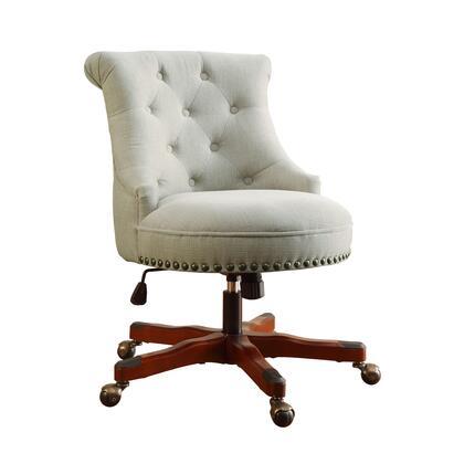 Linon Sinclair 178403NAT01U Sinclair Office Chair Natural Dark Walnut Wood Base