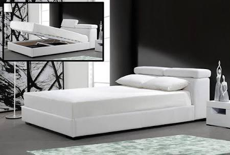 VIG Furniture VG2TAU01-39-WHT Modrest Logan - White Leatherette Bed with Storage