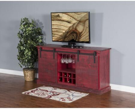 "Sunny Designs 3577XX-B 65"" TV Console with Sliding Barn Door, 8 Bottle Holders, Wine Rack and Adjustable Shelves in"