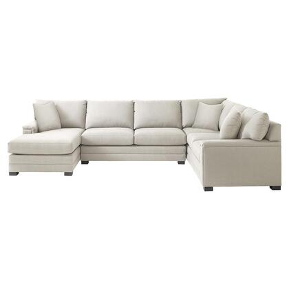 Bassett Furniture Hancock Collection 3935-ULSECTFC/FC163-X U-Shaped Sectional Sofa with Left Arm Facing Chaise Position, Fabric Upholstery, Top Stitching, Pad Arms, Dramatic Base Border and Woodlegs with Walnut Finish in