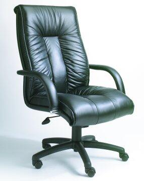 """Boss B930 45"""" High Back Executive Chair with Lumbar Support, Pneumatic Gas Lift Seat Height Adjustment, Upright Locking Position, and Leather Upholstered Armrests in Black Italian Leather Upholstery"""