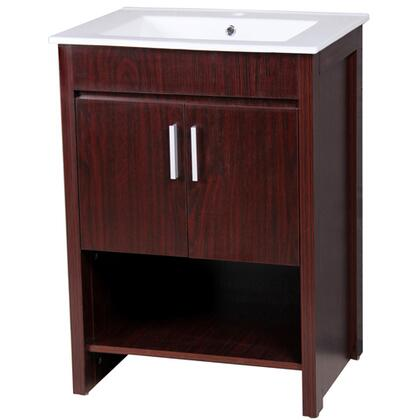 Yosemite YVEHSXXVT Single Vanity with White Ceramic Sink, Single Faucet Hole, 2 Door Cabinet and an Open Shelf