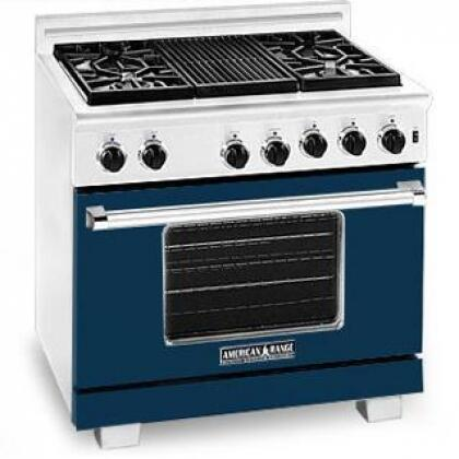 American Range ARR364GRLDB Heritage Classic Series Liquid Propane Freestanding Range with Sealed Burner Cooktop, 5.6 cu. ft. Primary Oven Capacity, in Dark Blue