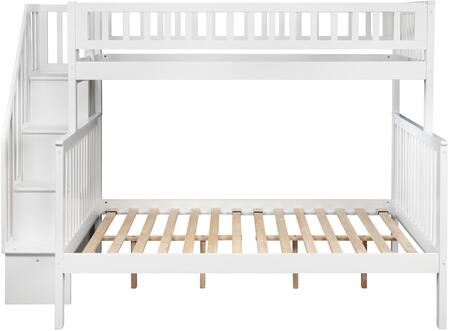 Atlantic Furniture AB567 Woodland Staircase Bunk Bed Twin Over Full In White