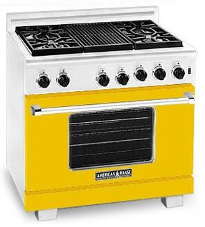 American Range ARR364GRLYW Heritage Classic Series Liquid Propane Freestanding Range with Sealed Burner Cooktop, 5.6 cu. ft. Primary Oven Capacity, in Yellow