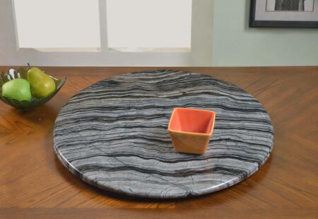 "Chintaly LAZYSUSAN24MBL 24"" Round Ancient Marble/Aluminum Rotating Tray"