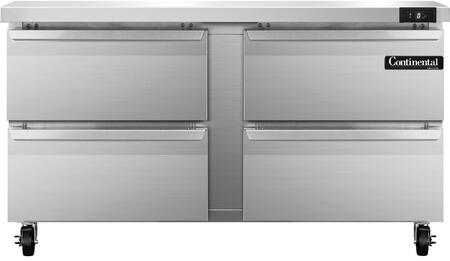 "Continental Refrigerator SWF6 60"" Worktop Freezer with 17 Cu. Ft. Capacity, Stainless Steel Exterior and Interior, 5"" Casters, Interior Hanging Thermometer, and Environmentally-Safe Refrigerant, in Stainless Steel"