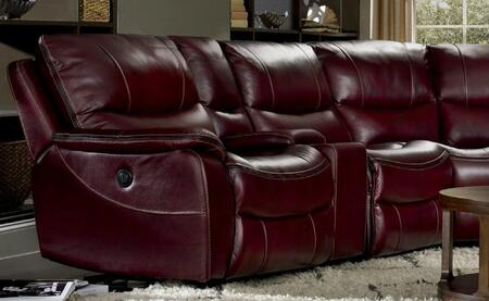 Walnut with Black Trim Power Motion Sofa Shown in Red Wine