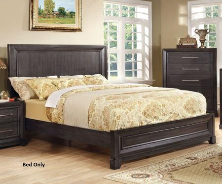 Furniture of America Bradley CM7780X Bed with Transitional Style, Wooden Headboard, Solid Wood and Wood Veneer in Dark Gray