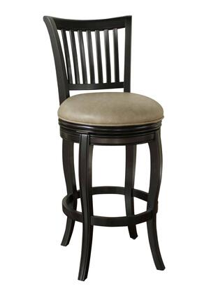 "American Heritage Maxwell Series 1XX902-BLK Transitional Stool with Full Bearing Swivel, 3"" Seat Cushion, and Fully Integrated Back Support Finished in Black with Mushroom Bonded Leather"