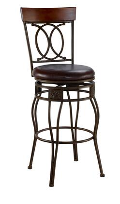 Linon 02565MTL01KDU O & X Back Series Residential or Commercial PVC Upholstered Bar Stool