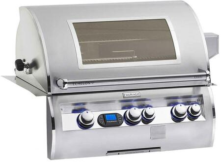 FireMagic E660I-4L1X-W Echelon Diamond Series Built In X Grill with a Rotisserie Backburner a Left Infrared Burner and View Window, 660 sq. in. Cooking Area: Stainless Steel