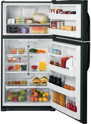 GE GTH21KBXBB Freestanding Top Freezer Refrigerator with 21.0 cu. ft. Total Capacity 4 Glass Shelves 6.1 cu. ft. Freezer Capacity