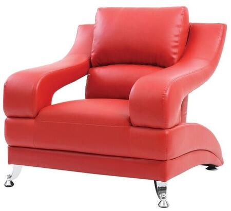 Glory Furniture G249C Faux Leather Armchair with Metal Frame in Red