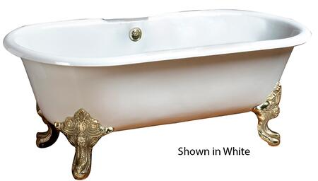 """Barclay CDRN68 Essex 68"""" Cast Iron Double Roll Tub, with Continuous Rolled Rim Faucet Mount, 50 Gallon Capacity, 18"""" Tub Depth, and Imperial Feet in:"""