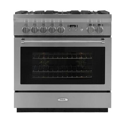 """AGA AMPRO36DFSS 36"""" Professional Series Dual Fuel Freestanding Range with Sealed Burner Cooktop, 4.9 cu. ft. Primary Oven Capacity, Storage in Stainless Steel"""