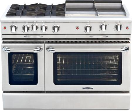 "Capital Culinarian Series CGSR484GG 48"" Freestanding Gas Range with 4 Burners, 4.6 cu. ft. Capacity, 2 Convection Ovens, 23,000 BTU, & Auto/Re-Ignition, in Stainless Steel (Image shown is not exact)"