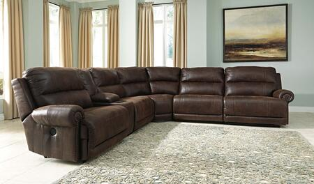 Milo Italia MI-5638FTMP Tyrone Sectional Sofa with Fabric Upholstery in Espresso