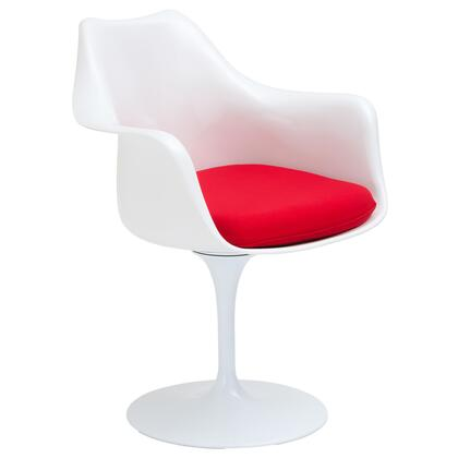 EdgeMod EM152RED Daisy Series Modern Fabric Plastic Frame Dining Room Chair