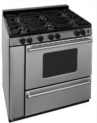 "Premier P36S 36"" Pro Series Gas Range with 6 Sealed Top Burners, Separate Broiler Compartment, 17,000 BTU Oven Burner, Heavy Duty Cast Aluminum Griddle, Storage Compartment and Interior Oven Light in Stainless Steel"