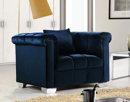 """Meridian Kayla Collection 615X-C 46"""" Chair with Velvet Upholstery, Chrome Legs and Contemporary Style in"""