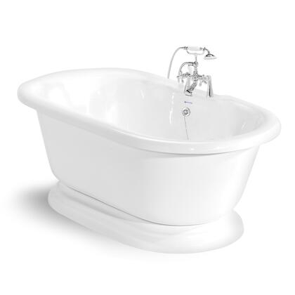 American Bath Factory T100B- Nobb Hill Round Pedestal Bathtub, 60-inch Double Ended, With 90 Series Faucet, Waste & Overflow: