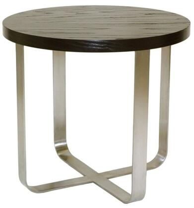 Allan Copley Designs 2090102 24x24x22 Artesia Round End Table on Satin Nickel Base