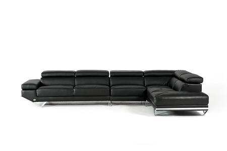 VIG Furniture VGKNK8488ECOBLK Divani Casa Quebec Series Sofa and Chaise Sofa