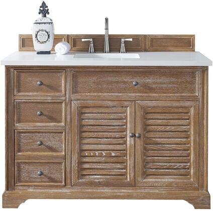 """James Martin Savannah Collection 238-104-5211- 48"""" Driftwood Single Vanity with Two Soft Closing Doors, Three Soft Closing Drawers, Antique Pewter Hardware and"""