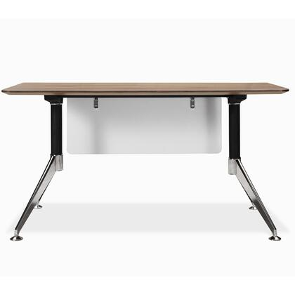 "Unique Furniture 300 Collection 55"" Computer Desk with Adjustable Height, Wire Management, Non Scratch Surface, Steel Base and High Pressure Melamine Material in"