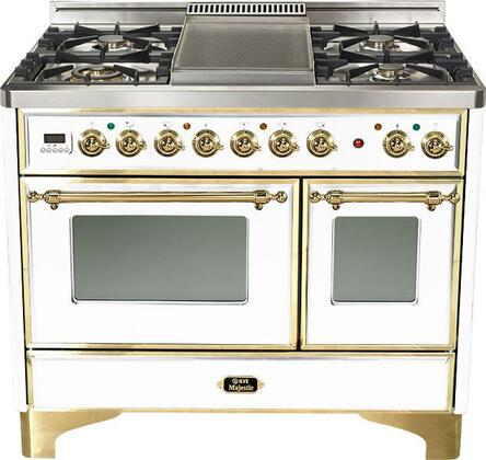 "Ilve UMD100FMPB 40"" Dual Fuel Freestanding Range with Sealed Burner Cooktop, 2.44 cu. ft. Primary Oven Capacity, in True White"