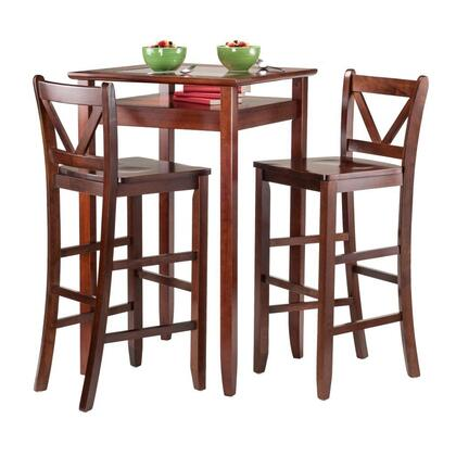 Winsome 94X86 Halo 3pc Pub Table Set with 2 Stools in Antique Walnut