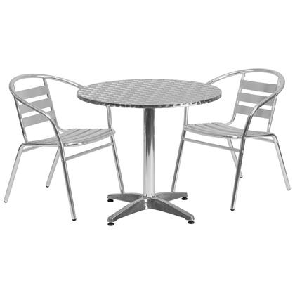 Flash Furniture TLH-ALUM-32RD-017BCHR-GG 31.5'' Round Aluminum Indoor-Outdoor Table with Slat Back Chairs