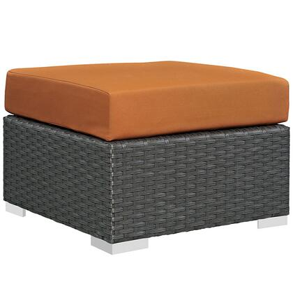 """Modway Sojourn Collection EEI-1855-CHC- 25"""" Outdoor Patio Sunbrella Ottoman with Stainless Steel Legs, Powder Coated Aluminum Frame and Fabric Upholstery in"""