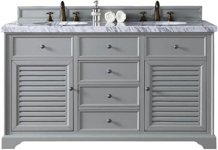 "James Martin Savannah Collection 238-104-V60D-UGR- 60"" Urban Gray Double Vanity with Two Soft Closing Doors, Two Soft Closing Drawers, Antique Pewter Hardware and"