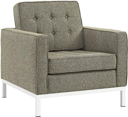 Modway EEI2050OAT Loft Series Polyester Armchair with Metal Frame in Oatmeal