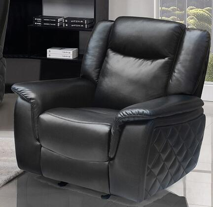 "Meridian Carly 628-C 42"" Glider Reclining Chair with Top Quality Leather Upholstery, Unique Quilt Design on Sides and Removable Backs in"