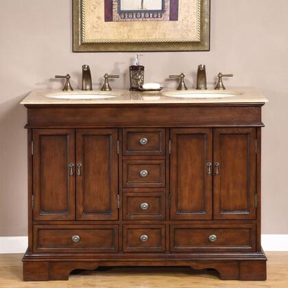 Silkroad Exclusive HYP-0715-T-UIC Ashley Double Sink Cabinet with Drawers, Doors, Travertine Top and Undermount Ivory Ceramic Sinks (3-Hole) in Brown Finish